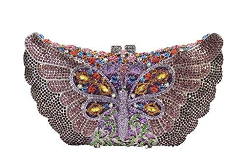 avec Sacs Ladies strass Yilongsheng Violet coloré bal Dazzling soirée de papillon dYwwXPx