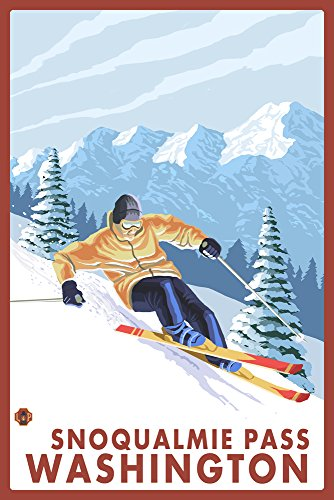 Downhill Snow Skier   Snoqualmie Pass  Wa  12X18 Collectible Art Print  Wall Decor Travel Poster
