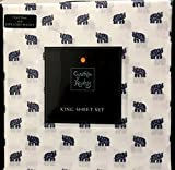 Cynthia Rowley 4-Piece KING Sheet Set | Navy Blue Indian Elephants on White | 100% Easy Care Microfiber