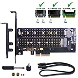 M.2 to PCIe Dual Adapter, M2 SSD NGFF SATA (b key) / NVME (m key) 22110 2280 2260 2242 2230 to PCI-E 3.0 x 4 Gen3 Host Controller Expansion Card with Low Profile Bracket for Desktop PCI Express Slot