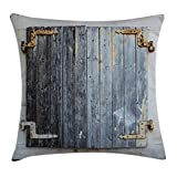 Ambesonne Shutters Decor Throw Pillow Cushion Cover, Old Wooden Window Shutters with Shabby Paint Rusty Traditional Village Picture, Decorative Square Accent Pillow Case, 24 X 24 inches, Charcoal