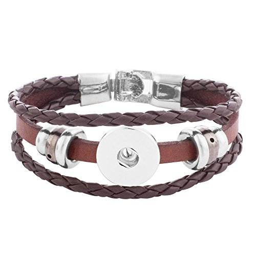 Lovmoment Bracelet Brown Leather Snap Jewelry Bangle Fit 18mm Snaps Chunks