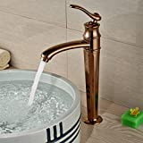 Oulantron Rose Gold Color Countertop Faucet Single Lever Vessel Sink Mixer Tap