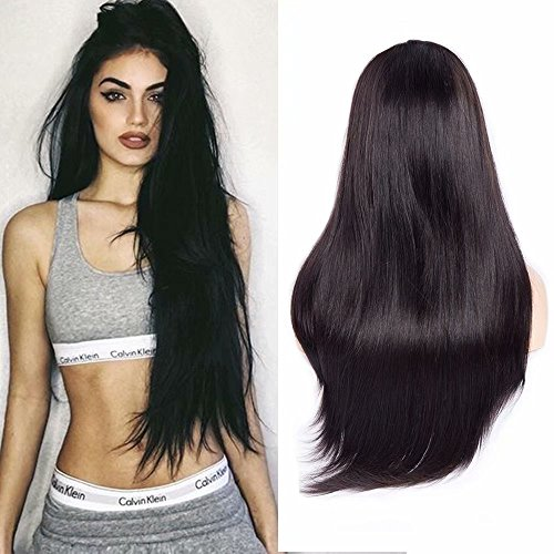Maxine Hair 9A Straight Lace Front Wigs Human Hair with Baby Hair Pre-Plucked 180% Density Brazilian Straight Wig Virgin Hair Lace Front Wig for Women Natural Color(22inch)