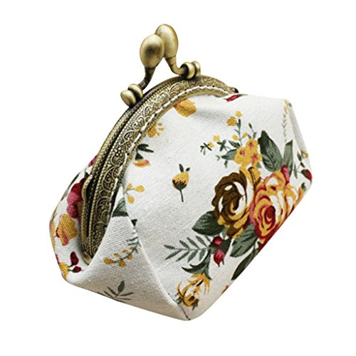 (Toraway Wallet, Lady Vintage Flower Mini Coin Purse Wallet Clutch Bag (White))