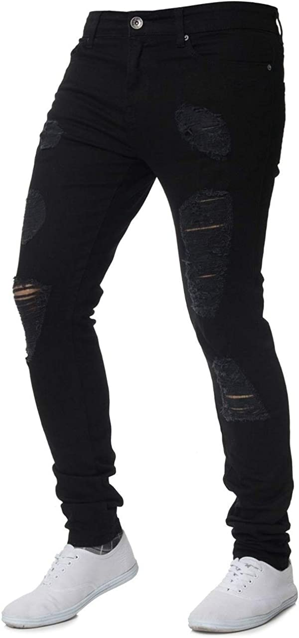ZAXARRA Men's Stretchy Ripped Skinny Biker Jeans Slim Fit Denim Pants Destroyed Hole