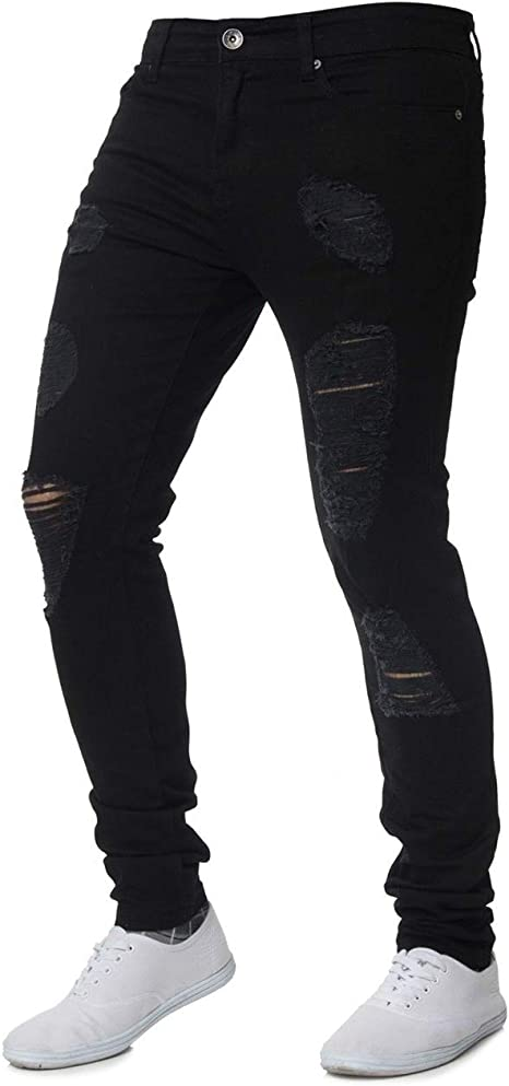WNSY Men Slim Fit Jeans Destroyed Ripped Skinny Denim Jeans Biker Pants