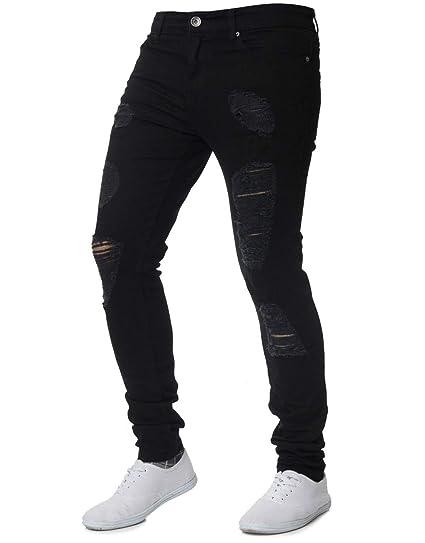 3924fd7d55 XARAZA Men's Stretchy Ripped Skinny Biker Jeans Slim Fit Denim Pants  Destroyed Hole (Black,
