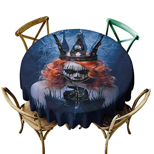 Zmstroy Elegant Waterproof Spillproof Polyester Fabric Table Cover Queen Queen of Death Scary Body Art Halloween Evil Face Bizarre Make Up Zombie Picnic D47 Navy Blue Orange Black]()