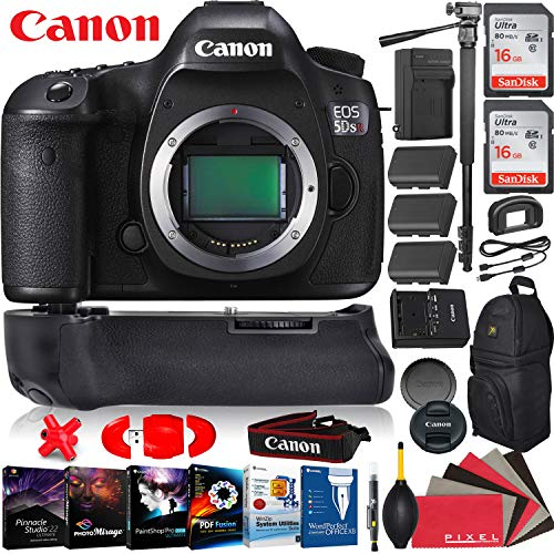 (Canon EOS 5DS R DSLR Camera (Body Only) - 50.6 Mega Pixels - HD Video - Dual Digic Processors - Battery Grip - 2X 16GB Memory Cards - 2 Extra Batteries -Camera Backpack - Pro Bundle )