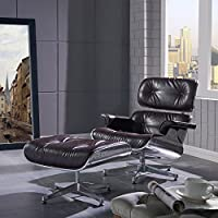 New Pacific Direct Grayson Aviator PU Leather Lounge Chair and Ottoman,Aluminum Legs,Distressed Java Brown