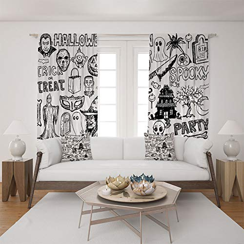 iPrint 2 Panel Set Satin Window Drapes Living Room Curtains and 2 Pillowcases,Halloween Doodle Trick or Treat Knife Party,The Perfect Combination of Curtains and Pillows Makes Your Living Room Warmer
