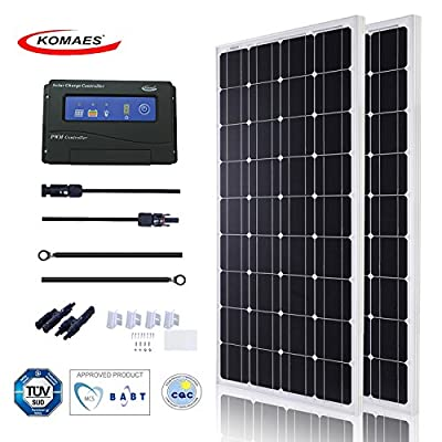KOMAES SOLAR 100W Monocrystalline Solar Panel 12V Charger With MC4 Connector For Deep Cycle Battery, Perfect For Residential, Industrial, RV, Boat, Camping, Off Grid Installation