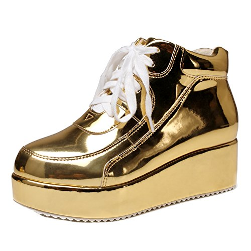 (getmorebeauty Womens Gold Patent Sneakers Platform Wedge Lace Up Chelsea Ankle Sneakers Shoes 8 B(M))