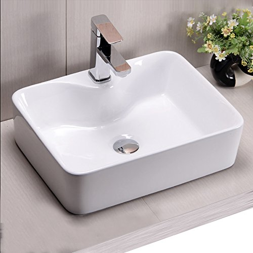 Cheap Riovoca White Rectangle Above Counter Porcelain Ceramic Vessel Vanity Bathroom Sink Art Basin