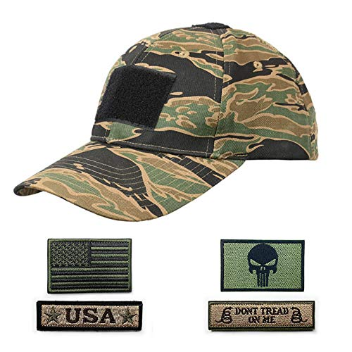 Rainbow Finch Tactical Constructed Operator Cap Bundle Adjustable Cotton Baseball Cap with USA Flag Dont Tread Punisher Velcro Patches