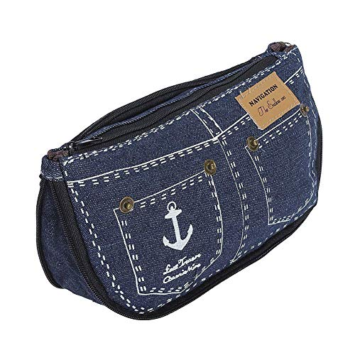 lápiz Jeans lienzo lápiz patrón bolsa Isuper caja Belleza pluma de monedero azul maquillaje de 2 cosméticos muchachas de de de la bolsa ordenadores las bolsa moda oscuro los de de 5zzTxqS