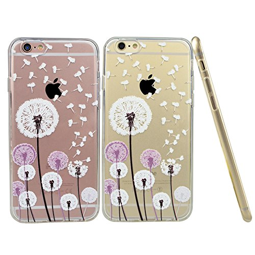 iPhone 6 Case, iPhone 6S Case, Doramifer Clear Soft TPU Case with Delicate 3D Print Protective Bumper Slim Case [Maya Series] [Ultra Thin] for iPhone 6/6S (Dandelion)