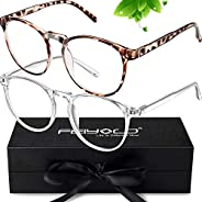 FEIYOLD Blue Light Blocking Glasses Women/Men,Retro Round Anti Eyestrain Computer Gaming Glasses(Leopard+Clear