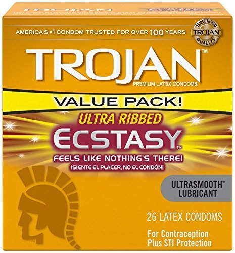 Trojan Ultra Ribbed Ecstasy Lubricated Condoms, 26 Count (Value Pack)