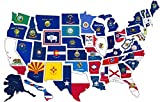 RV State Sticker Travel Map || 14'' x 22''|| 50 - USA States Flag Visited Decal || USA Road Trip Window Stickers || Motorhome Camper Trailer 5th Wheel Accessories