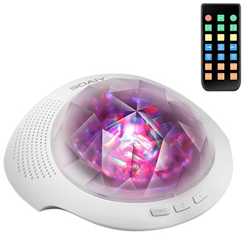 SOAIY Sleep Sound Machine & Northern Light Projector with Bluetooth Speaker, Remote, Timer, White