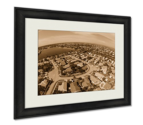 Ashley Framed Prints Suburban Homes In Florida Aerial, Wall Art Home Decoration, Sepia, 30x35 (frame size), - Fit You Pines Pembroke
