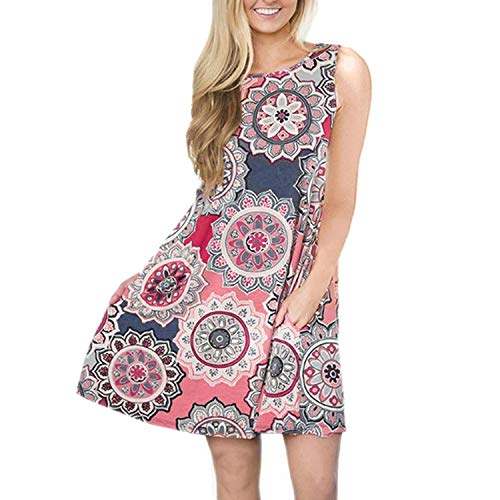 Ankola Dress, Women's Boho Printed Casual Sleeveless Swing Tunic T-Shirt Dress Short Mini Dress with Pockets (S, Pink) -