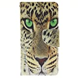 Huawei P9 Case [With Tempered Glass Screen Protector],idatog(TM) Magnetic Flip Book Style Cover Case ,High Quality Classic Colorful Cool Pattern Design Premium PU Leather Folding Wallet Case With [Credit Card Slots] Stand Function Folio Protective Holder Perfect Fit For Huawei P9(Yellow Tiger)
