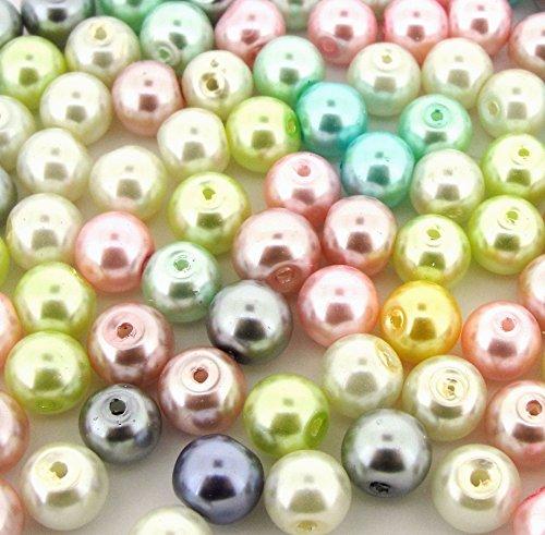Beads Direct USA's Glass Pearls Mix 100pcs 8mm - Pastel - Usa Direct Glasses