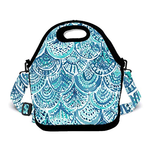 POP MKYTH Insulated Lunch Box - Novel Mermaid Fish Scales Blue - Water-Resistant Lunch Bag with 3D Shoulder Strap for School/Picnic/Camping, for Men Women Boys Girls Kids -