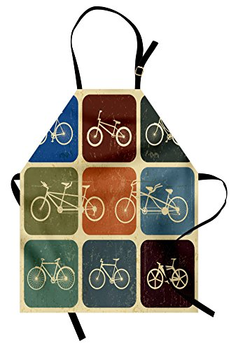 Lunarable Vintage Apron, Retro Image Collage of Bicycle Bikes in a Row with Abstract Pattern Colored Art, Unisex Kitchen Bib with Adjustable Neck for Cooking Gardening, Adult Size, Soft Beige
