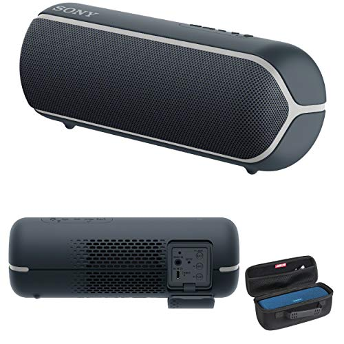 Sony SRS-XB22 Extra Bass Portable Bluetooth Speaker (Black) with Hardshell Carrying Case Bundle