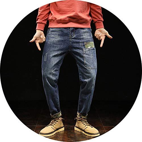 Be fearless 2019 New Mens Jeans Moustache Effect Halen Pants Camo Splice Pocket Wash Distressed Jeans,Blue,28