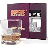 Whiskey Stones Set - Premium Soapstone Chilling Rocks For Scotch Whisky & Bourbon - Keep Your Beverage Cold Without Diluting Your Drink - Perfect Gift For Liquor Drinkers - Set of 9 Cubes With Bag