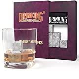 Image of Whiskey Stones Set - Premium Soapstone Chilling Rocks For Scotch Whisky & Bourbon - Keep Your Beverage Cold Without Diluting Your Drink - Perfect Gift For Liquor Drinkers - Set of 9 Cubes With Bag