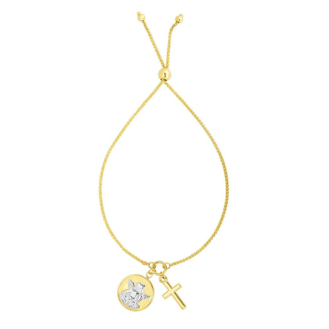 14K Yellow Gold #1 Nana Pendant on an Adjustable 14K Yellow Gold Chain Necklace