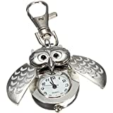 SODIAL(R)Double hibou ouvert Keyring Pocket Watch