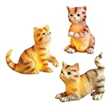 Collections Etc Solar Lighted Playful Cat Garden Figurine Statue Set of 3, Includes Rock with Hiden Solar Panel