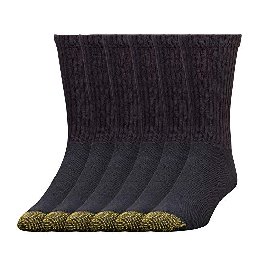 Gold Toe Men's Big and Tall 656S Cotton Crew Athletic Sock Multi-Pack, Black -Pack of 6, Shoe Size: 12-16