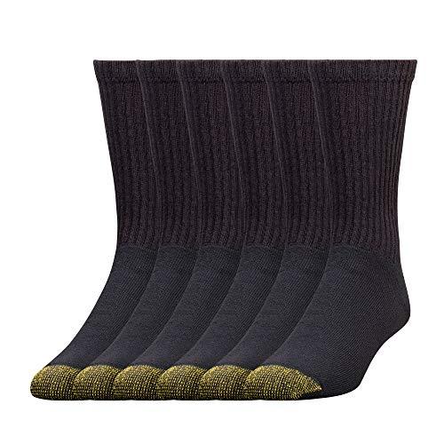 Gold Toe Men's 656S Cotton Crew Athletic Sock Multi-Pack, Black -Pack of 6, Shoe Size: 6-12.5