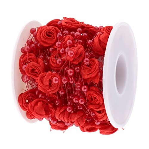 Fityle 10m Pearls Beads String Rose Flower Chain Roll Wedding Party Door Curtain Decor - Red, 10m