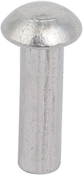 uxcell 100pcs M4 x 8mm Aluminum Half Round Head Solid Rivet Fastener Silver Tone
