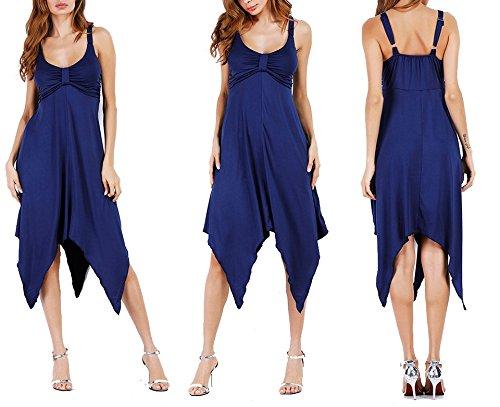 Sleeveless Blue Dress A Beach Collar Round Line Irregular Length Knee SYGoodBUY SZqUq