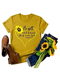 CGKUITER Women Bestill and Know Letter Sunflower Printed Tee Tops Crew Neck Casual T-Shirts