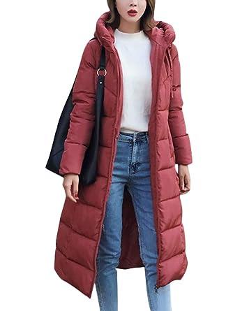 ORANDESIGNE Cappotto Piumino Imbottito Cappuccio Donna Invernali Elegante Lungo Addensare Caldo Leggero Piuma Giacca Outwear Parka Coat Slim Fit