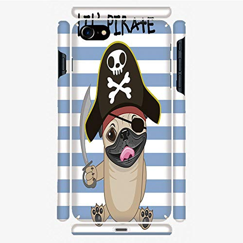 Phone Case Compatible with 3D Printed iPhone 7/iPhone 8 DIY Fashion Picture,Style Costume Holding Sword Lil Pirate Striped,Personalized Designed Hard Plastic Cell Phone Back Cover Shell Protective
