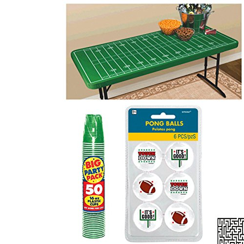 6 ct. Football Pong Balls, 50 ct. 16 oz. Green Plastic Cups and Football Field Table Cover w/ Elastic Edge Pong Game Party Bundle - Includes 1 Maze Game Activity ()