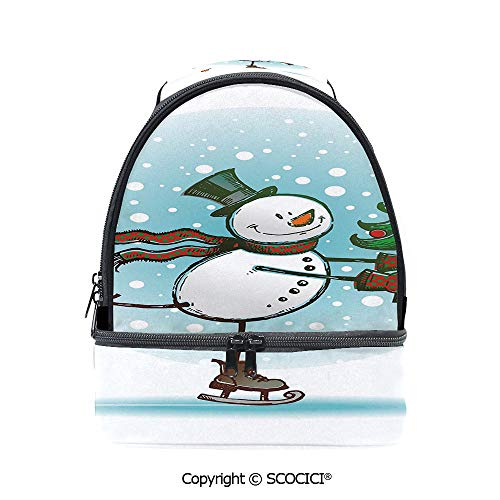 (SCOCICI Large Capacity Durable Material Lunch Box Hand Drawn Style Skating Snowman with Christmas Tree and Hat Cold Winter Snowfall Decorative Multipurpose Adjustable Lunch)