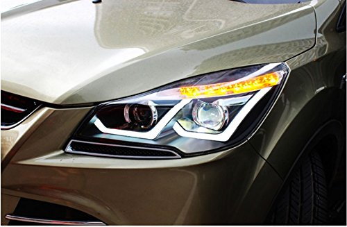 GOWE Car Styling for Ford Kuga Headlights 2013-2016 Escape LED Headlight DRL Bi Xenon Lens High Low Beam Parking Fog Lamp Color Temperature:4300K Wattage:55W 2